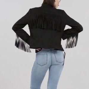 Rachel Rachel Roy Fringe Suede Jacket Moto Coat